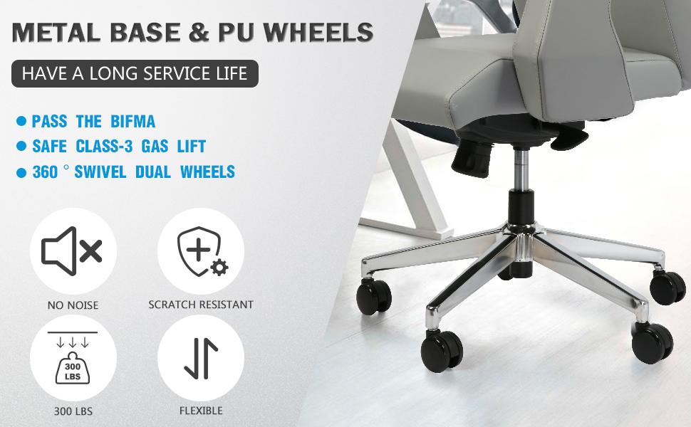 Metal base and PU wheels