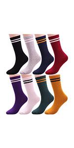 Stripe Solid Cotton Socks Heart Ankle Socks W96