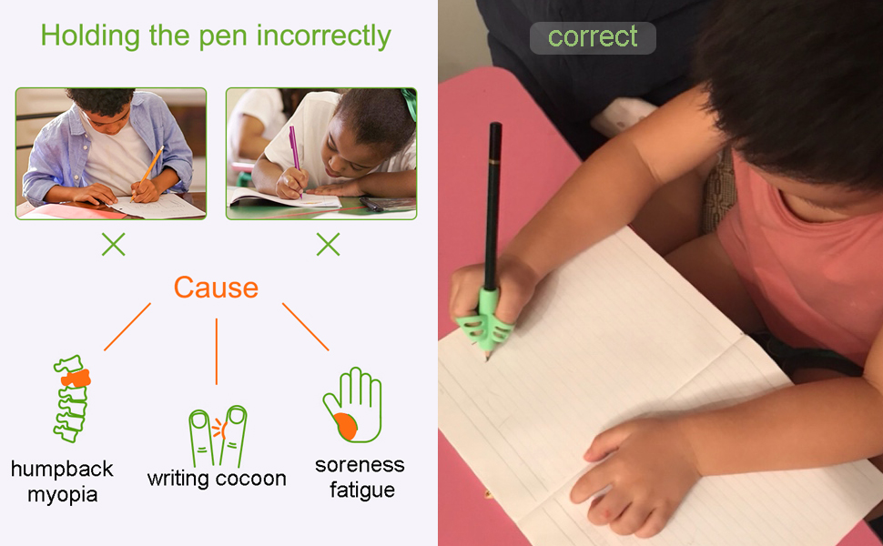 correct writing with pencil holder