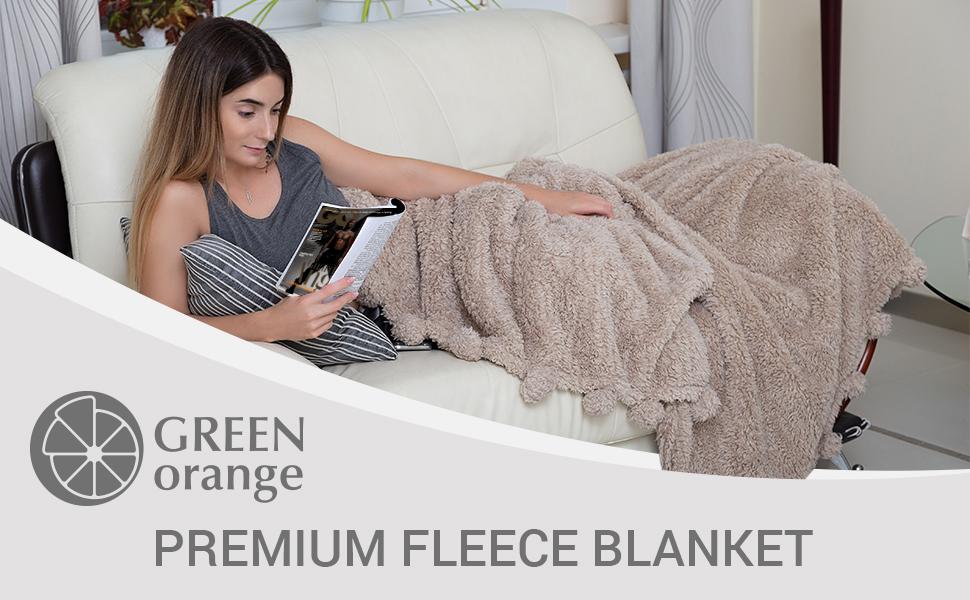 Green Orange Premium Fleece Blanket
