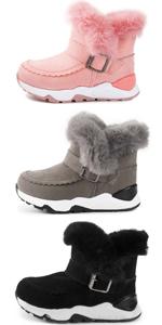 Kids Boys Girls Snow Boots Plush Warm Winter Hiking Non-Slip Rubber Sole (Toddler/Little Kid