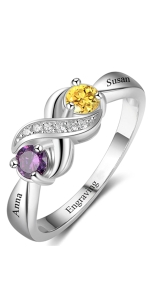 1 Personalized Promise Rings Mothers Rings with 2 Birthstones Engraved Name in Sterling Silver
