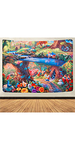 Psychedelic Mushrooms Trippy Mushrooms Hip-hop Graffiti Tapestry Easter Background Tapestry