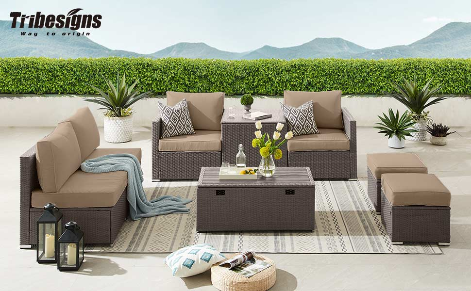 PE Rattan Sofa Set with Turquoise Cushion Garden Rattan Seating Couch Sectional