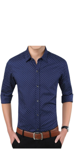 Mens Casual Slim Fit Dress Shirts