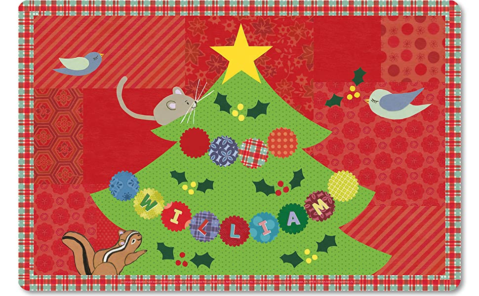 Personalized Place Mat for Kids Name Christmas Tree