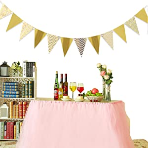 Sparkly Gold Paper Pennant Banner