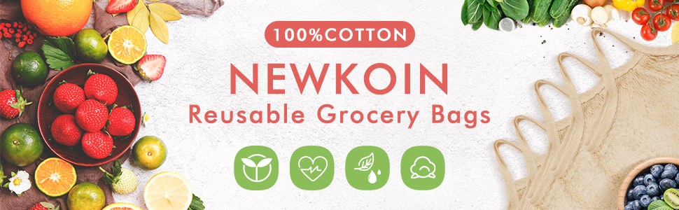 Newkoin Reusable Grocery Bags