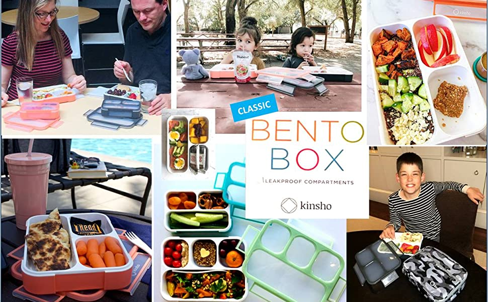 kinsho bento box lunch boxes bentos containers sets for kids toddlers children adults