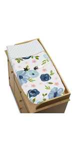 Navy Blue and Pink Watercolor Floral Girl Baby Nursery Changing Pad Cover