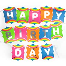Rainbow Unicorn Jointed Happy Birthday Banner Gay Pride Flag