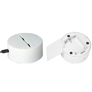 This night light can be powered on via USB cord or 3 x AA battteries