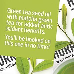 HURRAW Organic Certified Vegan Cruelty Free Non GMO Gluten Free Natural Luxury Green Tea Lip Balm