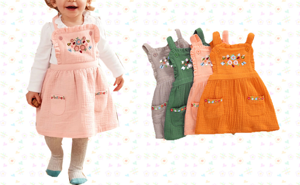 baby girl fall suspender skirt dress with pocket