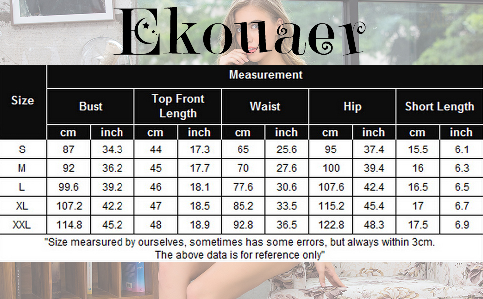 Ekouaer Womens Sexy Sleepwear Lingerie Satin Pajamas Cami Shorts Set Nightwear S-XXL