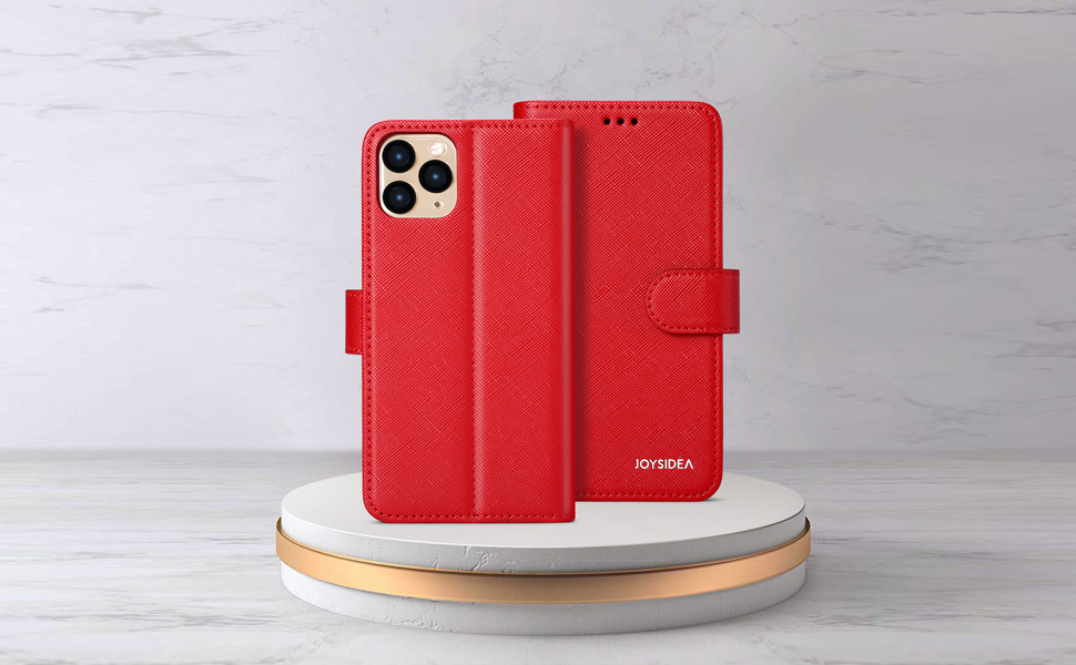 """iPhone 11 6.1"""" red 2-in-1 Detachable Magnetic Wallet"""