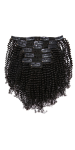 Kinky coily clip in hair extension