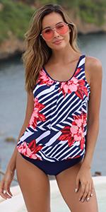 Womens 2 Piece Blouson Tankini Swimsuits