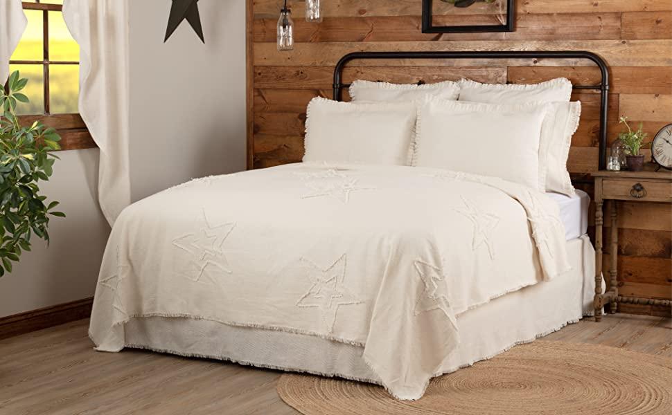 vhc brands, april & olive, burlap antique white star, coverlet, farmhouse, bedding, bedspread, quilt