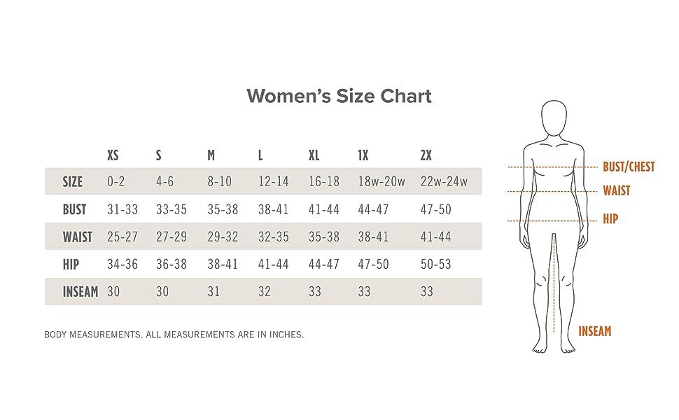 Kerrits Womens size chart