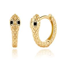 Gold Snake Huggie Hoop Earrings