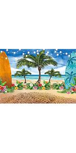 Summer Tropical Flower Photography Backdrop Seaside Island Night Light Luau 5x3