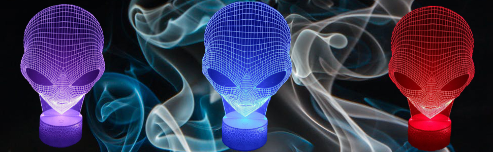 3D Night Light for Kids Kids Night Light alien 3D Optical Illusion Lamp with 16 Colors Changing