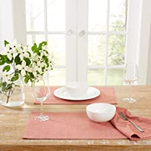 placemats. coral placemats, coral cloth placemats, formal placemats