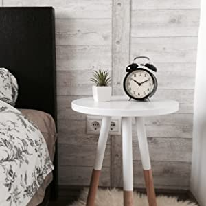 Bedside table painted in white chalk paint