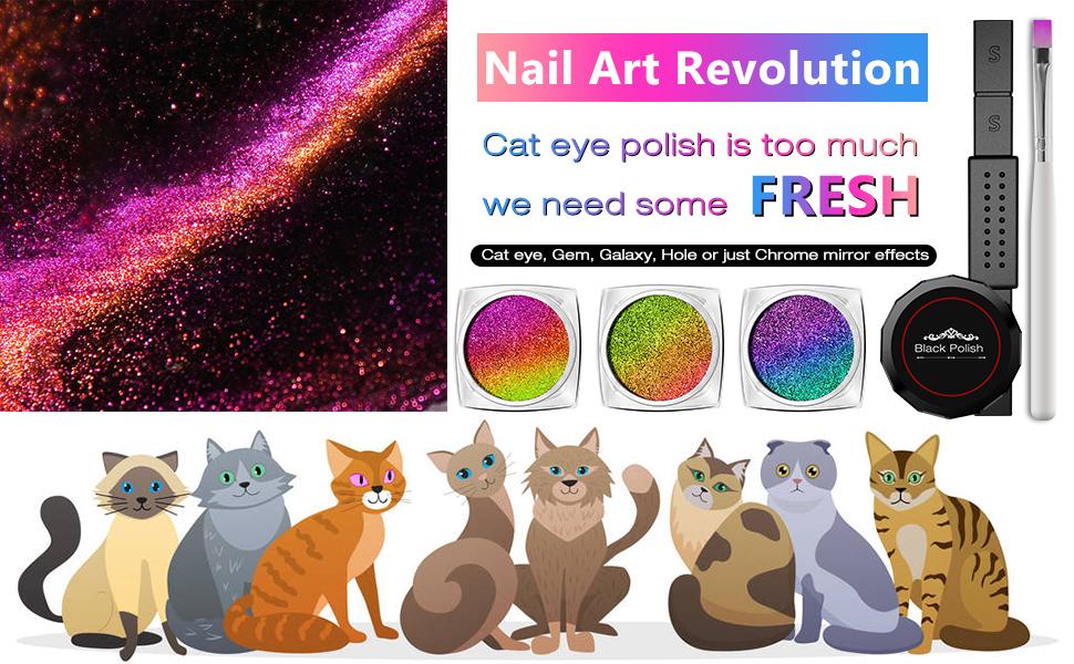 cat eye chrome nail powder