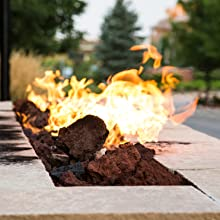 lava rock red fire pit outdoor volcanic rock