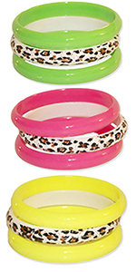neon colored cheetah print bangles bangle pink green yellow orange 80s costume 90s 1980s accessories