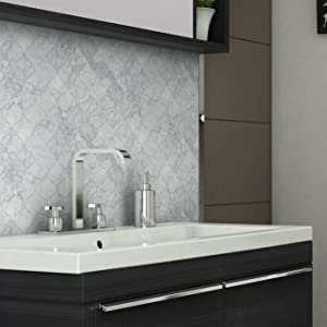 MTO0212 Modern Arabesque Gray White Glossy Carrara Marble Mosaic Tile