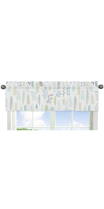 Blue and Grey Jungle Sloth Leaf Window Valance - Turquoise, Gray and Green Botanical Rainforest