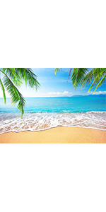 Summer Tropical Beach Photography Backdrop Seaside Island Blue White Clouds 7x5