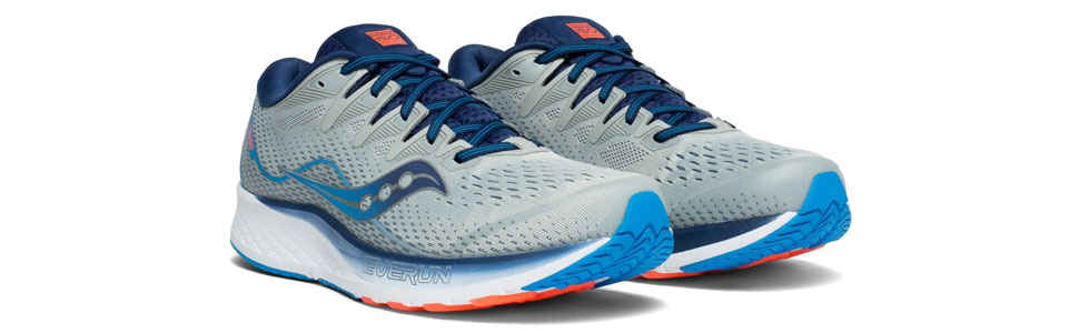 saucony men's ride iso 2 road running shoes in grey/blue