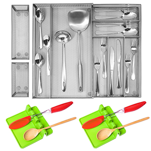 kitchen drawer organizers with 2 pcs green spoon rest
