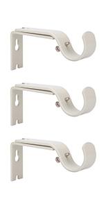 Ycolnaefllr Set of 2 Weathered White Adjustable Curtain Rod Brackets Rod Holders