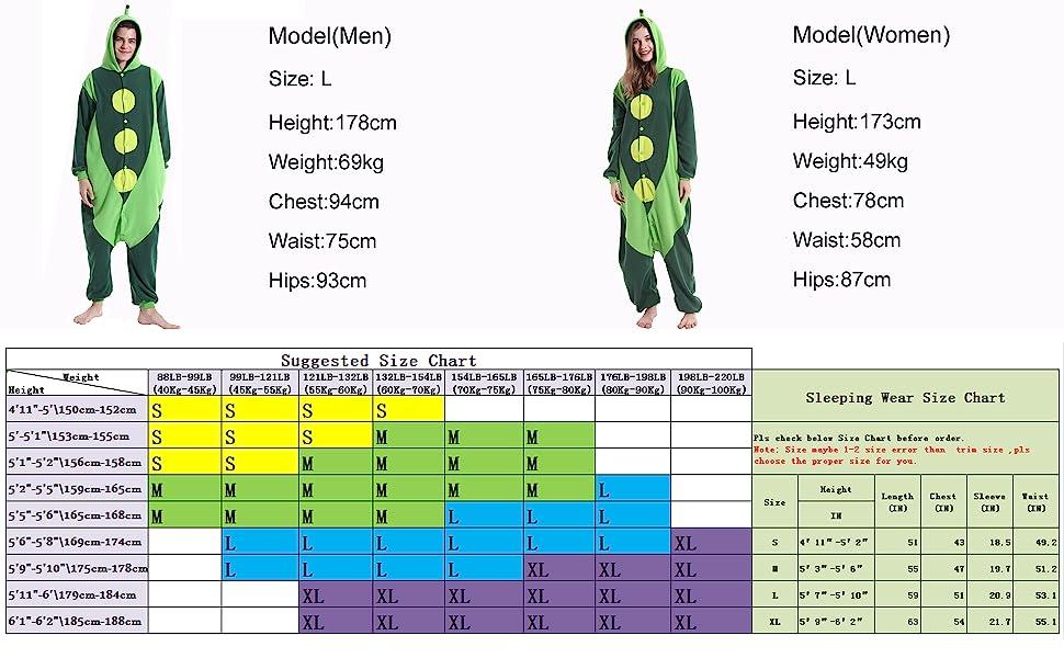 Size Chart Information of pea costume adult pea onesie pea pajamas