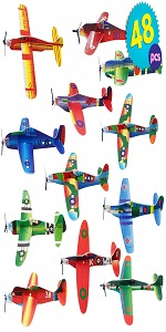 Paper Toy Planes 48 Pcs - Flying Foam Airplane Glider Kit in 12 Assorted Designs
