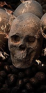 ceramic fire skull Halloween death fire pit decor