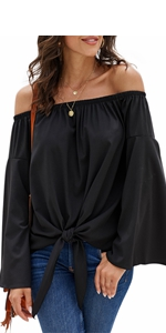 Solid Bell Sleeve Off Shoulder T Shirts Tie Knot Casual Chiffon Blouses