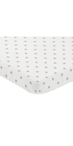 Gold and White Star Baby Girl Fitted Mini Portable Crib Sheet for Celestial