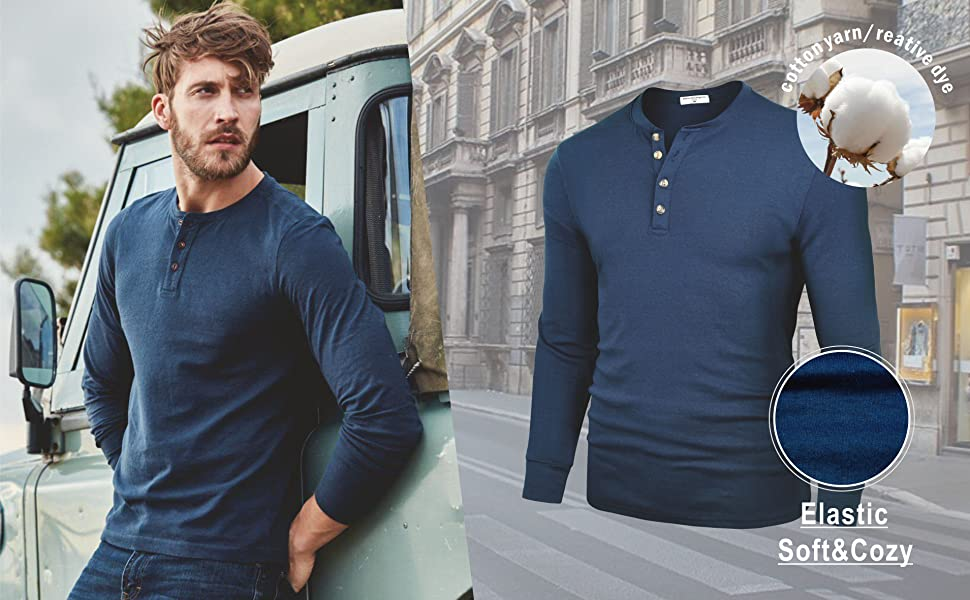 cotton t shirt very soft comfy henleys for men casual
