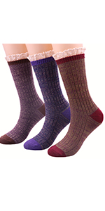 Winter Wool Cable Knit Crew Boot Socks With Lace Trim W97