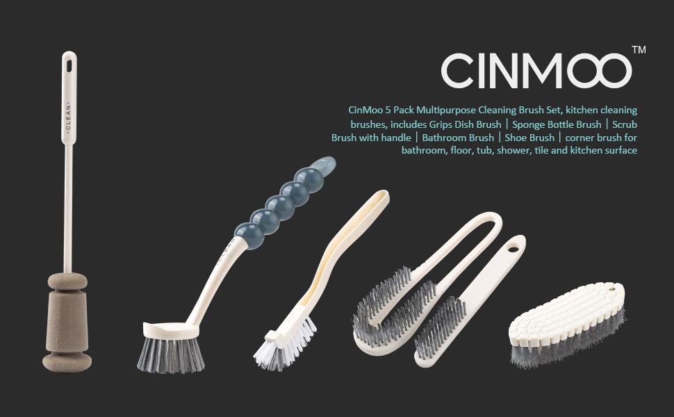 5 Pack Cleaning Brush Set Scrub Brush Bathroom Brush Shoe Brush Grout Brush Dish Brush kitchen brush