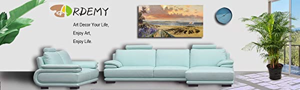 Canvas Wall Art Coastal Seascape Painting Rustic Ocean Sail Boat Picture Prints