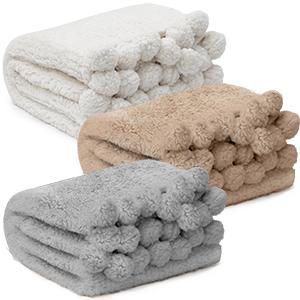 3 Blankets Sherpa White Brown Grey