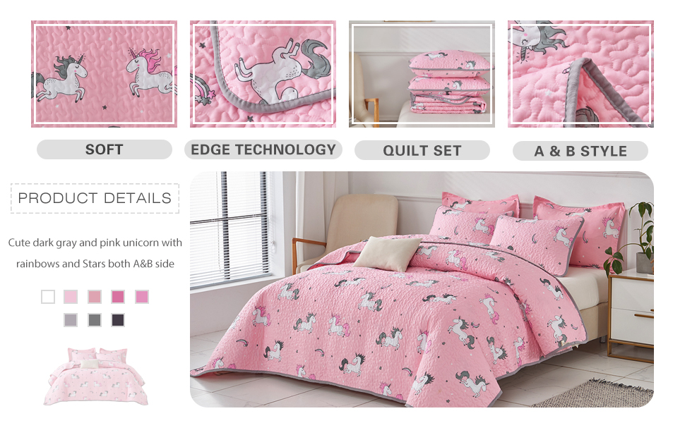 Uozzi Bedding 2 Piece Reversible Pink Unicorn Twin Quilt Set with Rainbow and Stars Cute Style for Girls Kids Teens Soft Microfiber Lightweight Coverlet Bedspread for All Season