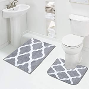 soft grey bath rug